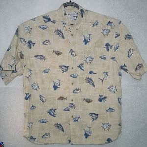 Columbia Mens Tan Fish Print Shirt Size XXL